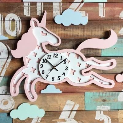 Настенные часы для детской Единорожек мятный