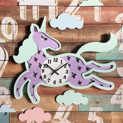 Настенные часы для детской Единорожек сиреневый