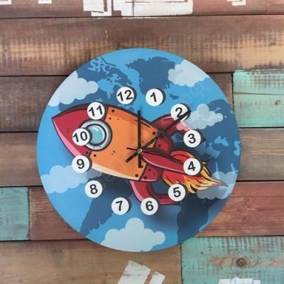 Настенные часы для детской Ракета