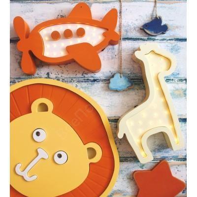 Настенные часы для детской Лева оранжевый