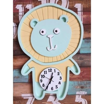 Настенные часы для детской Лева мятный