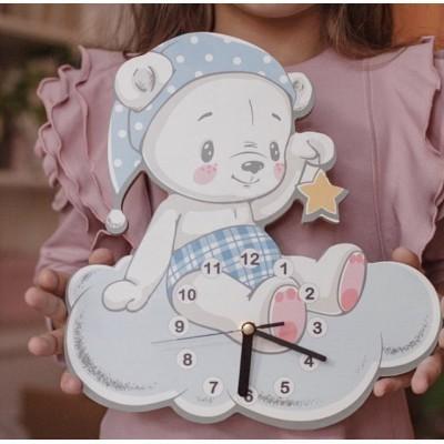 Настенные часы для детской Мишка