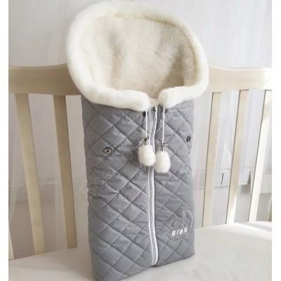 Зимний конверт в коляску Эмми серый