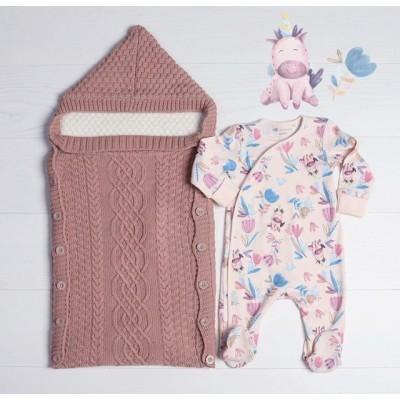 Комплект для новорождённой из эко-хлопка Единорожек