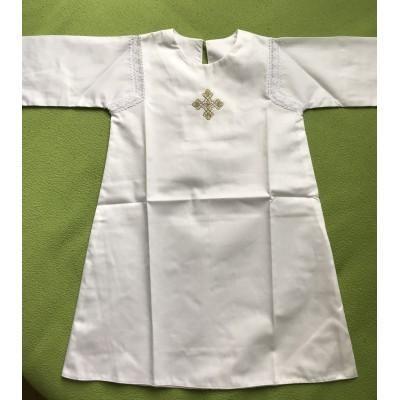 Крестильная рубашка в древнерусском стиле с золотым крестиком