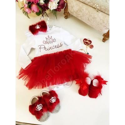 Боди для девочки с красной фатиновой юбочкой