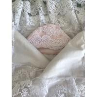Комплект на выписку Принцесса розовый с молочным кружевом