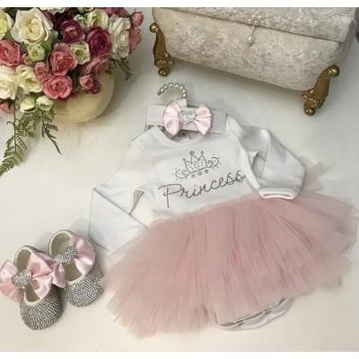 Боди для девочки с розовой фатиновой юбочкой Принцесса