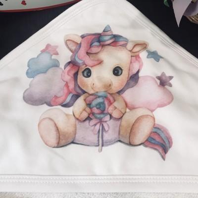 Детское полотенце с уголком Единорожек