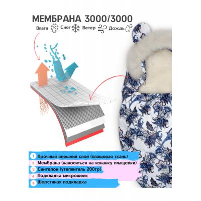 Зимний конверт в коляску Цветы синие