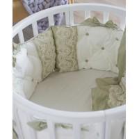 Комплект в кроватку из сатина Версаль оливковый