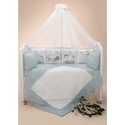 Комплект в кроватку Аисты мята