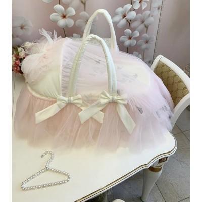 Люлька-переноска Бабочки с розовой вуалью