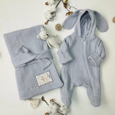 Комплект на выписку для новорождённого Мечта серый