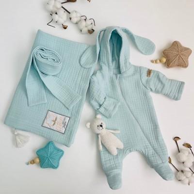 Комплект на выписку для новорождённого Мечта мятный