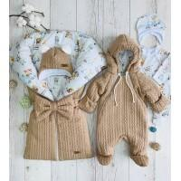 Комплект на выписку для новорождённых Любимка бежевый