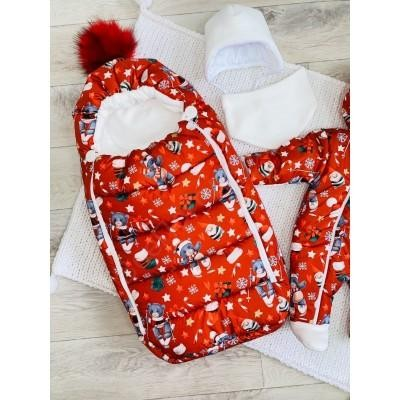Зимний комплект для новорождённого Пушинка рождество