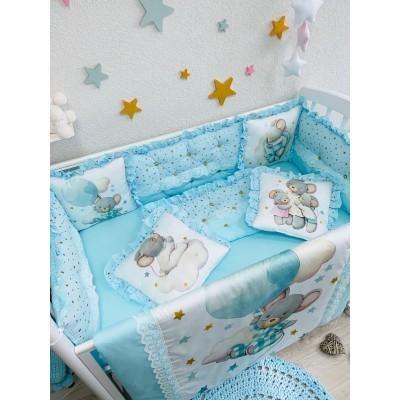 Комплект в детскую кроватку Мышонок голубой