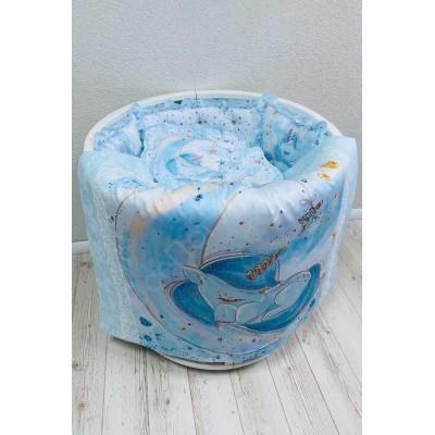 Комплект в кроватку Единорог в голубом