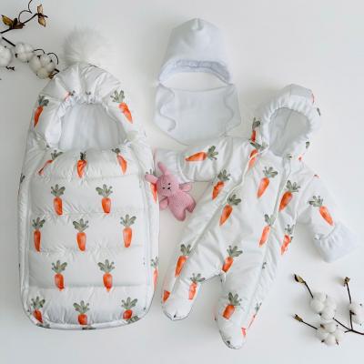 Зимний комплект для новорождённого Пушинка морковка