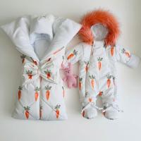 Зимний комплект для новорождённых Снежок морковка