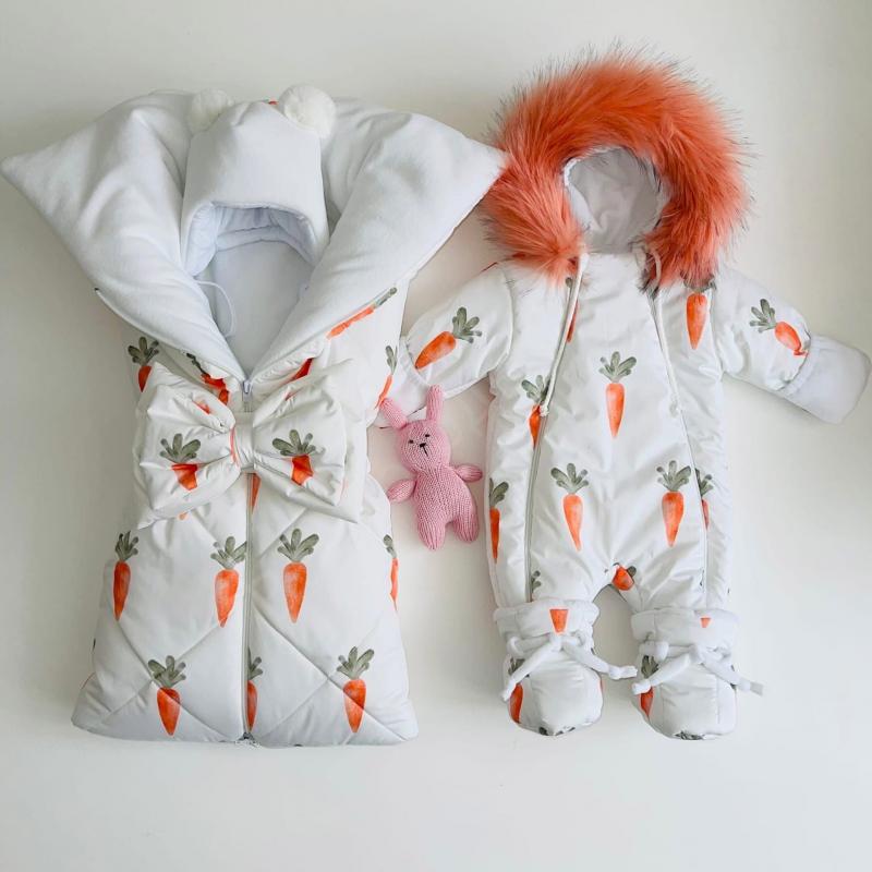 Зимний комплект для новорождённого Снежок морковки