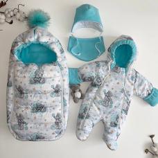 Зимний комплект для новорождённых Пушинка тедди