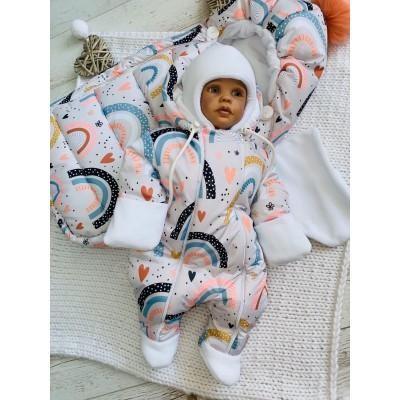 Зимний комплект для новорождённой Пушинка радуга