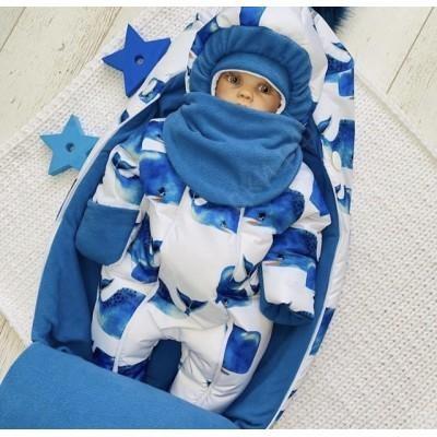 Зимний комплект для новорождённого Пушинка киты