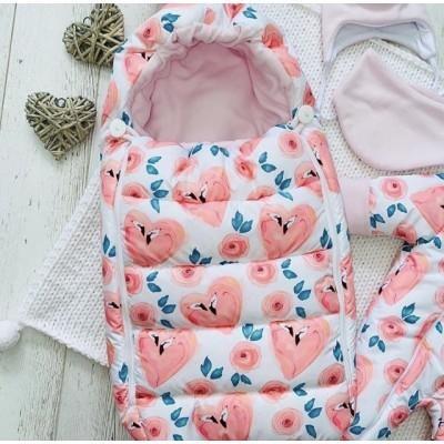 Зимний комплект для новорождённой Пушинка сердечки