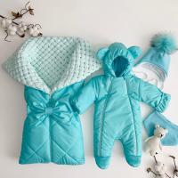 Утеплённый комплект для новорождённых Льдинка бирюзовый