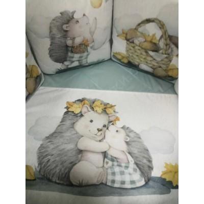 Комплект в кроватку Ежата