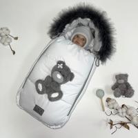 Зимний комплект из мембраны для новорождённого Тедди белый