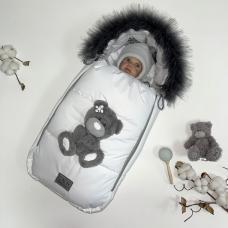 Зимний комплект из мембраны для новорождённых Тедди белый