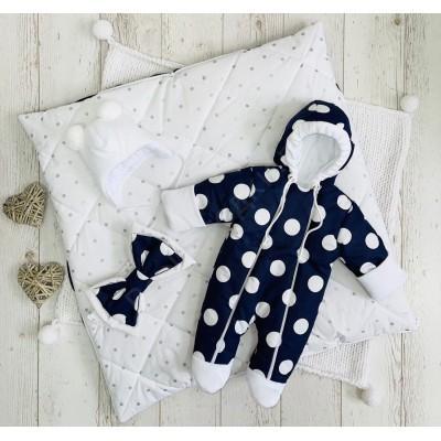 Демисезонный комплект для новорождённого Горошек