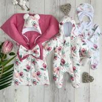Комплект на выписку для новорождённой девочки Бусинка цветы