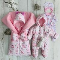 Комплект на выписку для новорождённой девочки Бусинка единороги