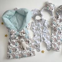 Демисезонный комплект на выписку для новорожденных Бусинка слоники