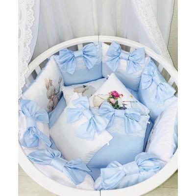 Комплект в кроватку из сатина Зайки