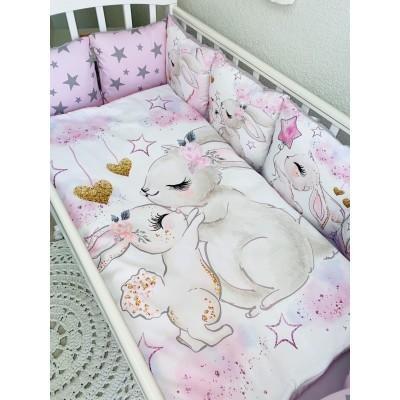 Комплект в кроватку для девочки Зая розовый