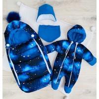 Зимний комплект для новорождённого Пушинка звезды синий