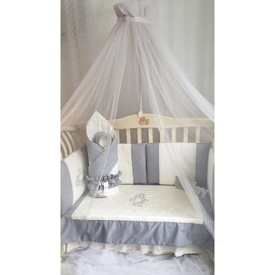 Балдахин для детской кроватки Версаль серый