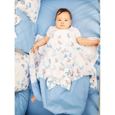 Комплект в кроватку Бабочки голубой