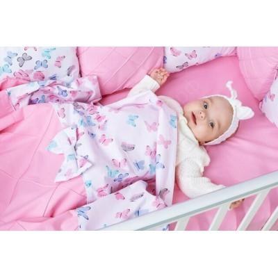 Комплект в кроватку Бабочки розовый