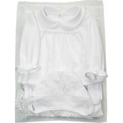 Комплект на выписку и крещение для девочки 4 предмета Никуся