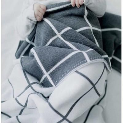 Детский плед Шотландка серый