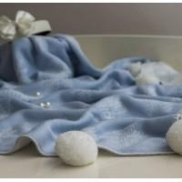 Детский плед Снежинка голубой