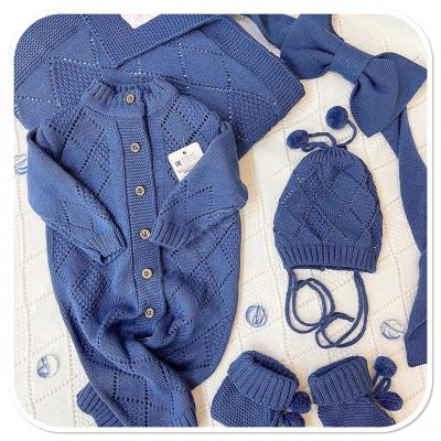 Комплект на выписку для новорождённых летом Ромбы синий